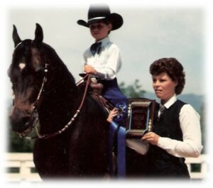 Melissa with her first show horse Foxy
